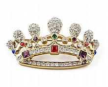 Gorgeous Imperial Crown Crystal Brooch