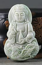 Hand Carved Chinese Natural Jade Guanyin Pendant