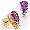 Purple Amethyst, Diamond Earrings