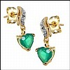 Emerald, Diamond Earrings w/ Heart Drop