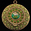 Antique Enamel Filigree Pendant French Mirror Box
