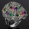 Huge 69.07 CT Marcasite Mulit-Gemstone Ring