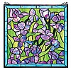 Stained Glass Hanging of Purple Irises.