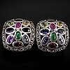 Gorgeous 41.48 Ct Marcasite Mulit-Gemstone Earring