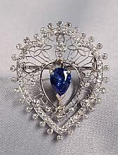 EDWARDIAN PLATINUM AND DIAMOND PENDANT BROOCH