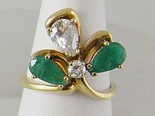Antique 14k Gold, Diamond, Emerald Floral Ring