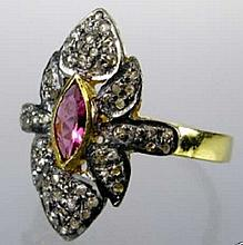 Rose Cut Diamond, Ruby Ring Victorian-Style