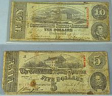 $5 & $10 1863 Confederate States Notes