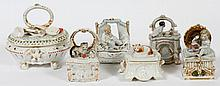 Group of 6 German Porcelain Trinket Boxes. 19th c.
