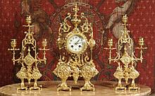 Japy Freres Antique French Gilt Clock Set 19th c.