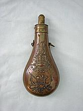 Exceptional U.S. 1850 brass Peace powder flask