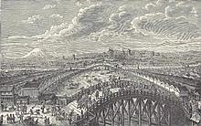 ORIGINAL Antique  PRINT scenE-VIEW FROM THE BRIDGE