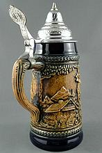 Vintage GERZ Beer Stein with Pewter Lid