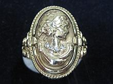 Vintage 10K Gold Cameo Ring with Diamonds