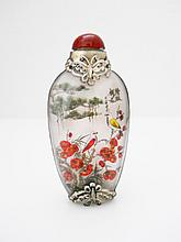 Hand Painted Silver Glass Chinese Snuff Bottle