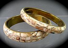 Pair of Vintage Brass, Inlaid Bone Bracelets