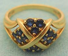 Antique 14k Yellow Gold Blue Sapphires Ring
