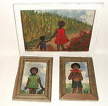 P. Horton 3 Small Black Americana Paintings