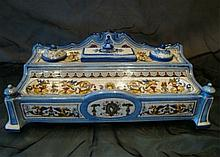 French Porcelain Blue Inkwell for Desk