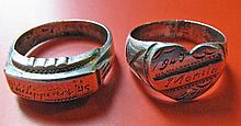 2 Vintage World War II Trench Art Rings