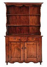 Early 19th c  American Mixed Wood Stepback Cabinet