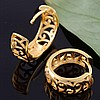 Lovely Gold Tone Filigree Hollow Hoop Earrings