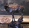 Glorious Bronze Sculpture Single Standing Elk