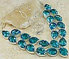 Hand Made Blue Sapphire Gemstone Chunky Necklace