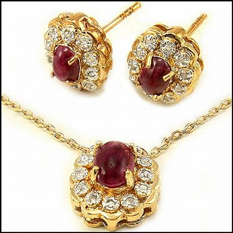 Ruby, Diamond Pendant Necklace w/ Earrings