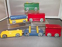 Wood Train Engine and 5 Cars with Magnetic Couplings