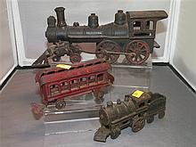 2 Cast Iron Train Engines and 1 Metal Train Car