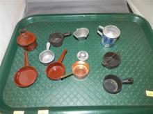 Vintage Metal & Cast Iron Child's Pots/Pans/Coal Bucket