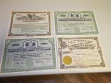 Vintage Stock Certificates: PRR; Wiley Coal; Hall's Ice Cream