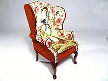 Jean Strup Embroidered Wing Chair