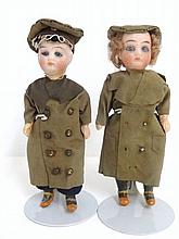 Pair of Military Boy and Girl Dolls