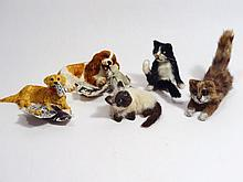 Handcrafted Dollhouse Dogs and Cats