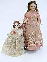 German Female Dollhouse Doll and German Bisque Girl Doll