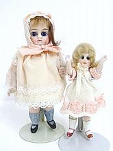 Two All Bisque Girl Dolls