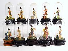 Oriental Miniature Dolls in Glass Domes