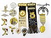 Vintage Ribbons with Medals Attached, Badges, and Pins