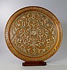 Two Islamic white metal inlaid copper trays, of