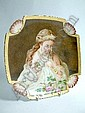 A Limoges artist decorated dish, painted with a semi-clad beauty wearing tiara, the square shaped dish with shell moulded corners and key pattern edge, signed Riehl and dated 1889 with an inscription to the reverse, 21cm square.
