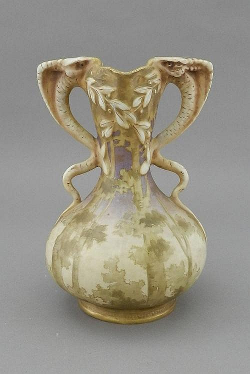 An Amphora twin handled Jugendstil vase, early