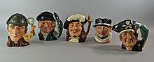 A collection of five character jugs by Royal Doulton