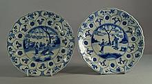 A pair of Chinese blue and white shaped porcelain dishes