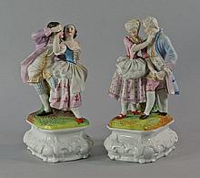 A pair of French porcelain figure groups of Courting couples