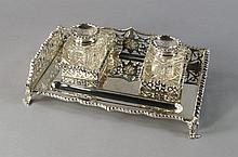 An Edward VII silver ink stand