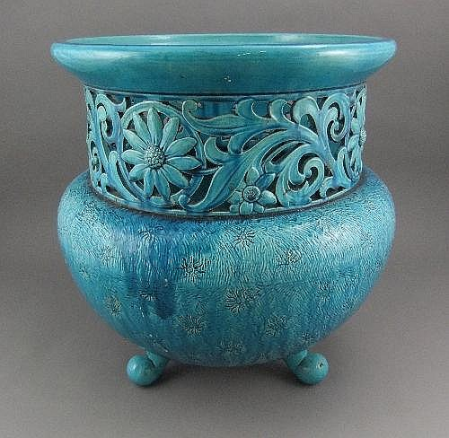 A Burmantofts style blue jardiniere, of circular