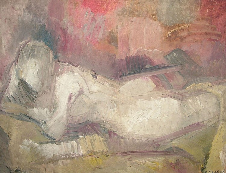 Dorothy Mead 1928-1975- Reclining female nude; oil