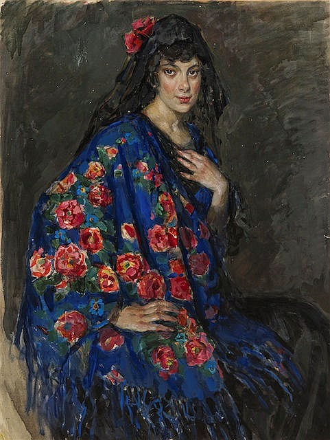 Kisseleva Yelena Andreevna - Portrait of Unknown Lady in a Shawl